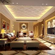 欧式风格客厅石膏板密集吊顶装饰