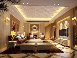 2015年欧式客厅装修设计效果图