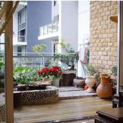 日式阳台栅栏装饰效果图