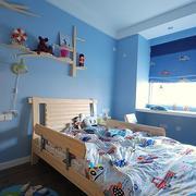 儿童房蓝色系背景墙装饰