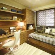 东南亚风格书房原木书柜装饰