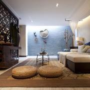 日式现代化客厅镂空原木隔断装饰