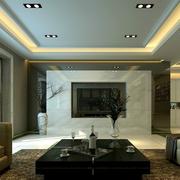 后现代风格冷色系客厅电视背景墙装饰
