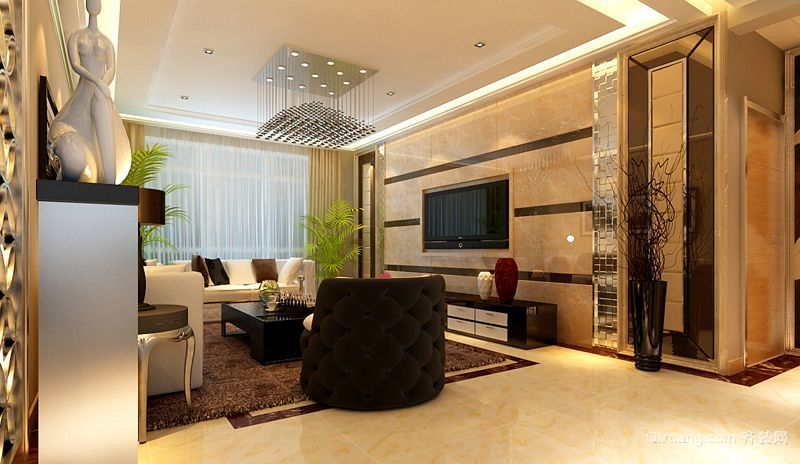 三室二厅美式客厅隔断木制屏风装修效果图