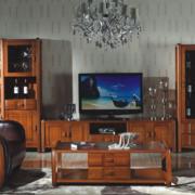 美式简约风格原木浅色电视柜装饰