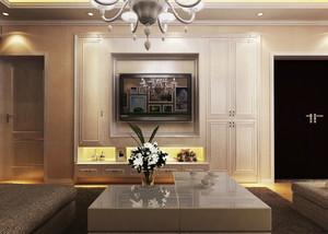 两居室美式豪华型客厅墙衣电视背景墙装修效果图