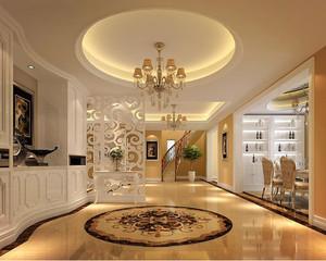 简欧风格客厅玄关圆形吊顶装饰