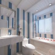 浅蓝色简约卫生间背景墙装饰