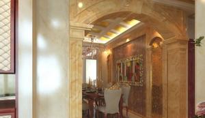 120平米奢华巴洛克风格餐厅吊顶背景墙装修效果图