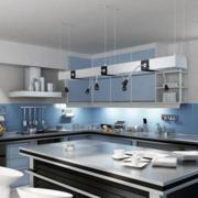 厨房橱柜欧式淡蓝色款