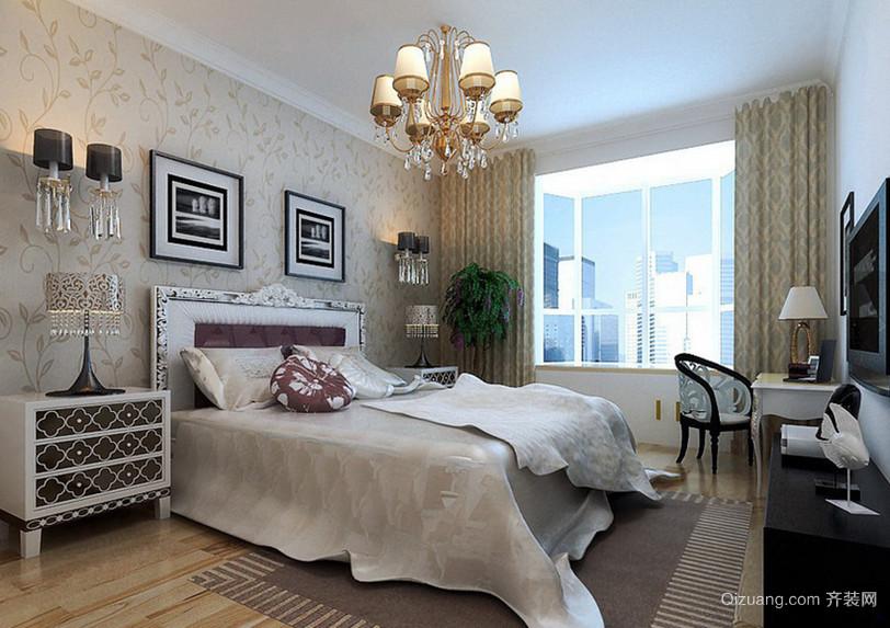 128㎡浪漫法式风格卧室背景墙设计装修效果图