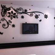 深色系花纹客厅背景墙装饰