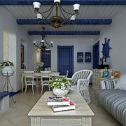 地中海蓝色系简约客厅吊顶装饰