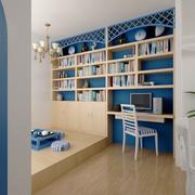 精美小户型分层蓝色书柜
