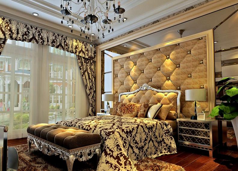 单身 公寓欧式卧室床头软包 背景 墙装修效果图