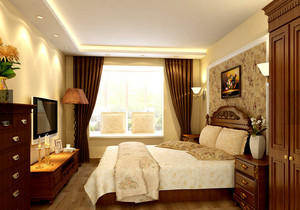 大户型典雅美式风格卧室背景墙设计装修效果图