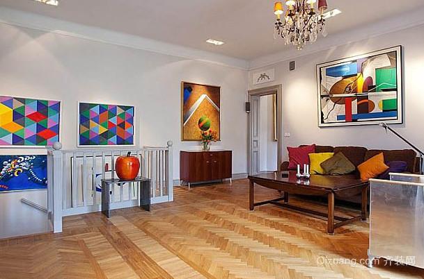 家庭客厅抽象画背景墙装修