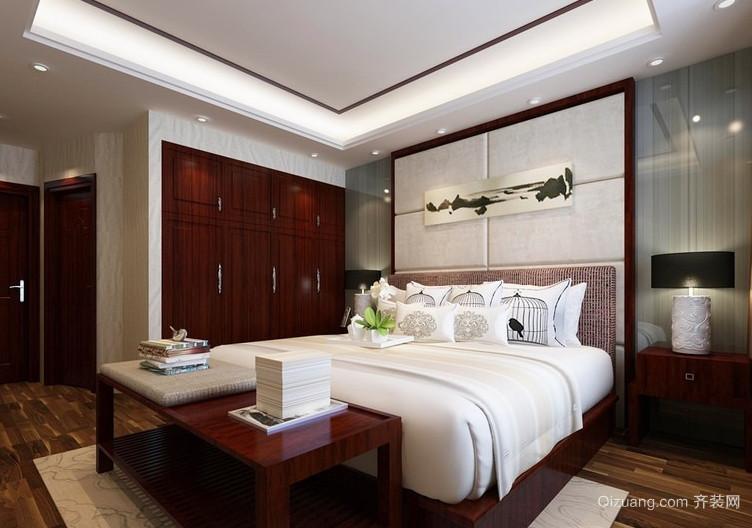 110平米中式风格卧室背景墙设计装修效果图