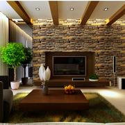 客厅文化砖背景墙