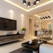 客厅白色背景墙欣赏