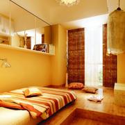暖色调高光卧室榻榻米