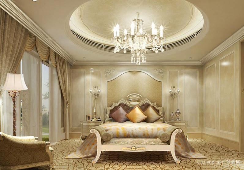 小户型欧式卧室石膏线背景墙装修效果图