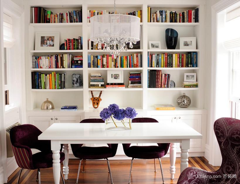 单身公寓现代欧式客厅书柜背景墙装修效果图