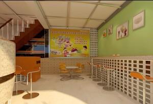 清凉夏日奶茶店吧台装修效果图
