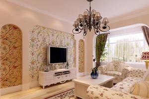 两居室清新淡雅韩式客厅吊顶电视背景墙装修效果图