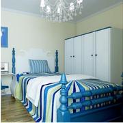 蓝色调卧室壁纸设计