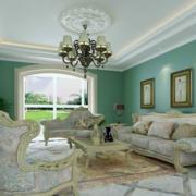 客厅绿色墙面展示