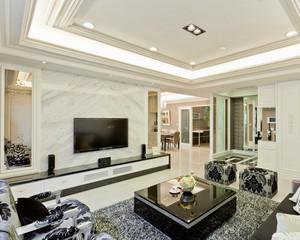 120平米大户型欧式挂墙客厅壁柜背景墙装修效果图
