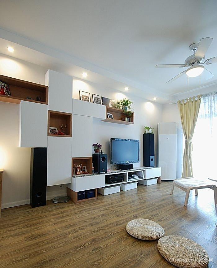 现代不规则客厅电视背景墙装修效果图