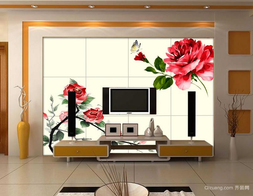 单身公寓现代都市客厅背景墙墙绘装修效果图
