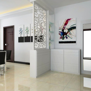 白色简约客厅鞋柜设计