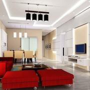 客厅红色沙发欣赏
