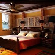 美式深色系的卧室