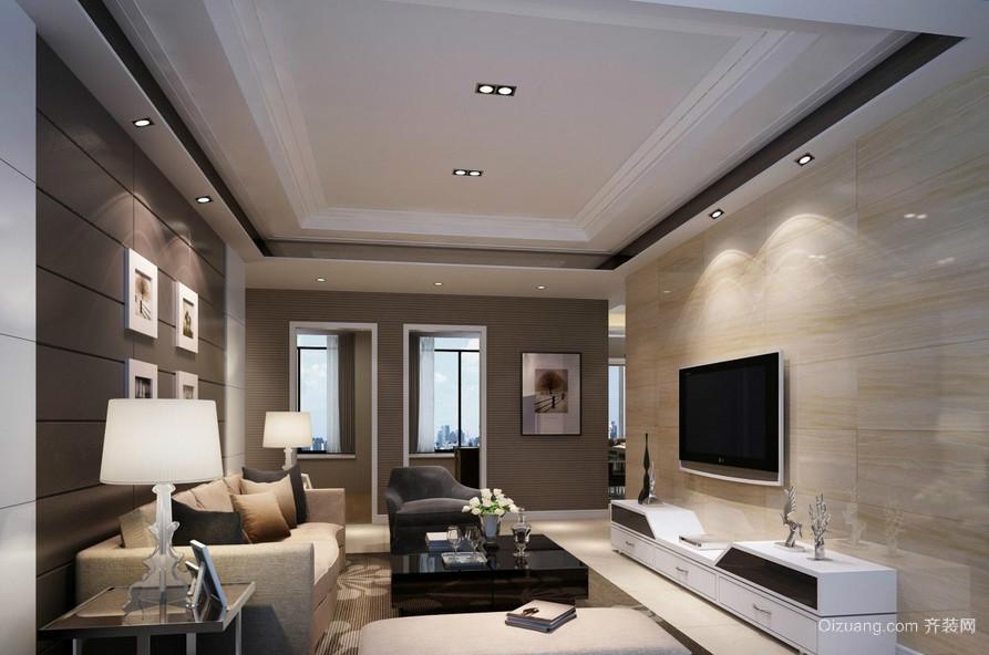 120平米大型现代简约客厅电视背景墙装修效果图