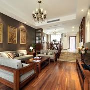 跃层客厅木地板装修