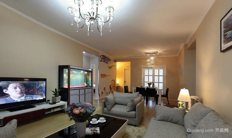 别墅型现代时尚客厅鱼缸造景装修效果图