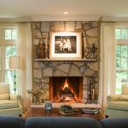 欧式田园风格客厅炉火设计