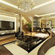 别墅温馨暖色的客厅