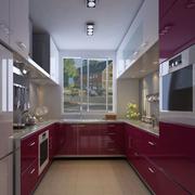 厨房红色不锈钢橱柜