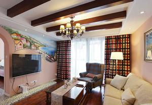 两居室现代田园风格客厅电视背景墙装修效果图