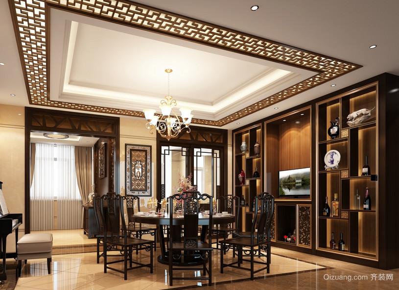 三室一厅欧式客厅酒柜背景墙装修效果图