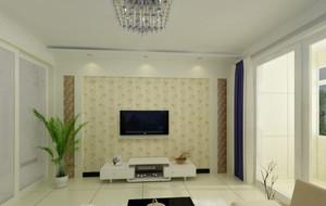 家居米黄色电视背景墙