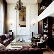 别墅客厅挑高窗帘