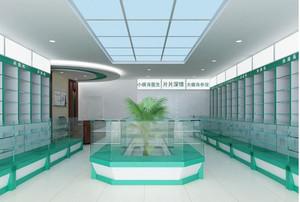 现代小户型药店吊顶背景墙装修效果图