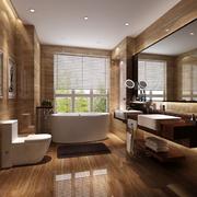 别墅咖啡色的洗手间