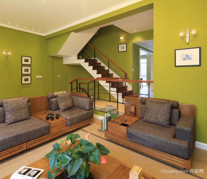 现代客厅阁楼复式楼梯装修效果图